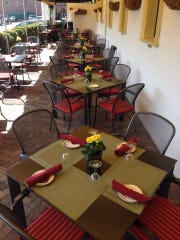 Lots of outdoor dining is available on the covered patio of The Grand Cafe in Morristown