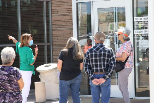 Voters wait in line to cast their ballots in the 2020 Primary Election on Tuesday, June 2, 2020, at Farmington Museum at Gateway Park in Farmington.