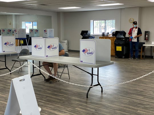 Casting a ballot at the Ruidoso Downs poll on June 2, 2020.