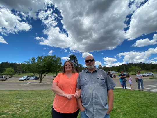 "Laura and Mitchell Massey wait in line at the Ruidoso Convention Center voting poll on June 2. ""I don't mind waiting a little while longer if it means I get to vote in person. I don't like voting by mail,"" said Laura Mitchell."