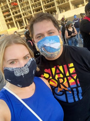 Rep. Ruben Gallego, D-Ariz., at a protest in Phoenix on Monday, June 1, 2020, with his fiancee, Sydney Barron.