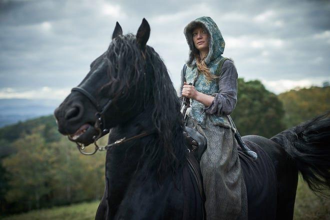 Mia Wasikowska rides a horse in 'Judy & Punch.'