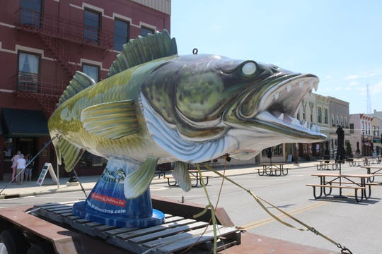 """""""Wylie Walleye"""" is one of the newest additions to the Meals on Madison outside patio dining area available for patrons in downtown Port Clinton."""