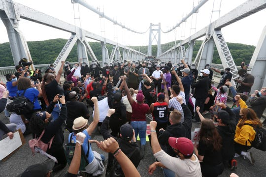 Stop the Violence We Can't Breathe Protest organizer Robert Pemberton speaks while on the Mid-Hudson Bridge in Highland on June 2, 2020.