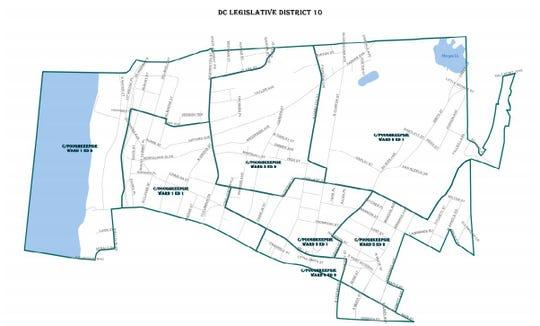 A map of Dutchess County's Legislative District 10 in Poughkeepsie.