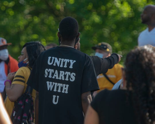 Approximately 200 people marched, chanted, spoke and carried signs from Penn Park to the Judicial Center in York on Monday, June 1, 2020.