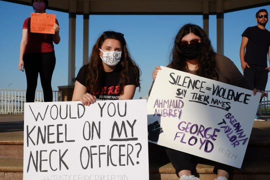 Jayden Lesko and Jessica Thompson said they were at the demonstration in Rehoboth Beachas allies.