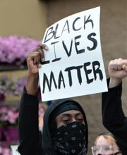 Protesters gather in Salisbury on Tuesday, June 2, 2020 following the killing of George Floyd in Minnesota by police.
