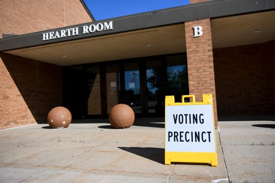 People head to the polls to vote during the elections on Tuesday, June 2, 2020 in Sioux Falls, S.D.