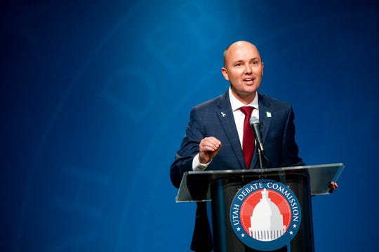 """In this Monday, June 1, 2020, photo, Utah Lt. Gov. Spencer Cox speaks during the Utah Gubernatorial Republican Primary Debate, in Salt Lake City. Cox, known for his earnest grin and quirky Twitter feed, argued that he's been doing his job by leading the state's coronavirus task force. He touted the approach of his boss, Republican Gov. Gary Herbert, who made his stay-home order voluntary and moved early to reopen the economy. """"We've done it ... as well or better than any other state in this nation,"""" he said. (Ivy Ceballo/Deseret News, via AP, Pool)"""