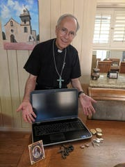 Bishop Mark Seitz thanked El Paso Police on social media for recovering several items that were stolen from his home.