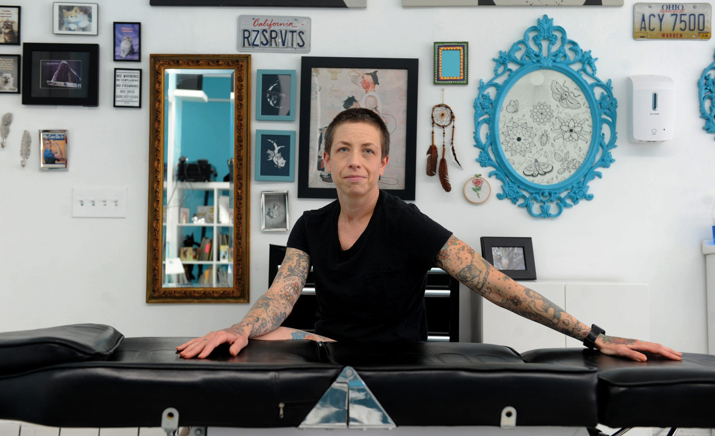 Stephanie Sparrow, owner of Roses and Rivets in Santa Paula, has not been allowed to open her tattoo business because of the coronavirus.