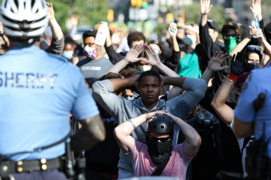 Crowds gather on Benjamin Franklin Parkway in Philadelphia, Pa. on Monday, June 1, 2020 as part of a protest against police violence.