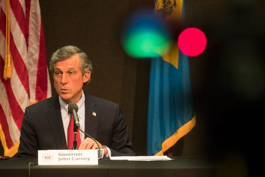 Governor John Carney speaks to the media during a briefing on the current status of the coronavirus pandemic in Delaware Tuesday, June 2, 2020, at the Carvel State Building in Wilmington.