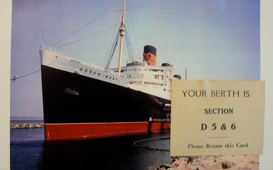 Mabie came home on the luxury liner Queen Mary  but not in a private stateroom. (He saved his original berth pass.) The ship is now permanently docked at Long Beach, CA as a tourist  attraction. (My wife and I toured it years ago.)