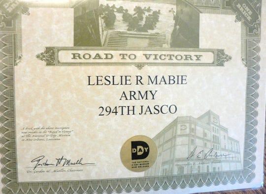 Mabie's D-Day certificate.