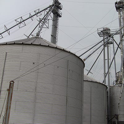 Grain bins like these are ubiquitous on farms in South Dakota and across the country, and experts say they carry a risk of entrapment or death that is higher in 2020 than in past years due to out-of-condition grain.
