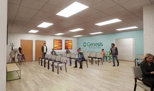 An artist's rendering of the lobby of the new Genesis Outpatient Rehabilitation facility on Maple Avenue in Zanesville. The facility, replacing a smaller location on Adair Avenue, is expected to open in the fall. Genesis notes the renderings were created before the COVID-19 pandemic.