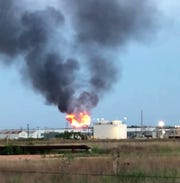 Fireballs could be seen at the Kinder Morgan gas plant near Snyder on Tuesday after an incident occurred during pipeline work. No one was harmed.