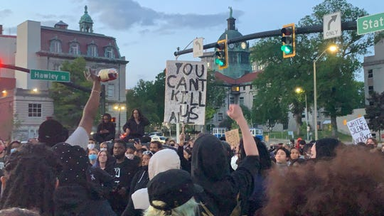 A few hundred protesters gathered at Cheri A. Lindsey Memorial Park in Binghamton on June 2, 2020 to speak out against racial injustice. The crowd later moved the event from the park to the Binghamton Police Station in Downtown Binghamton.