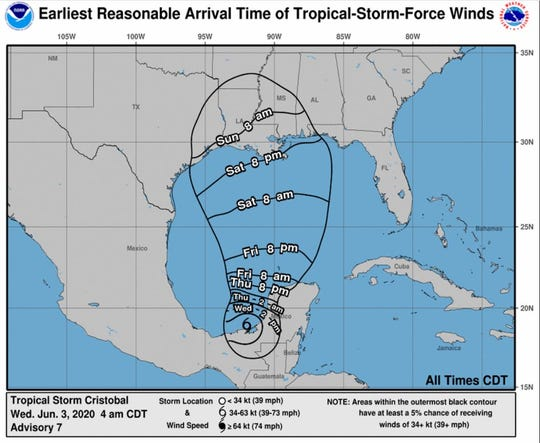 Tropical Storm Cristobal is forecast to make landfall between the east Texas Coast and a portion of Florida on Sunday, June 7, 2020.