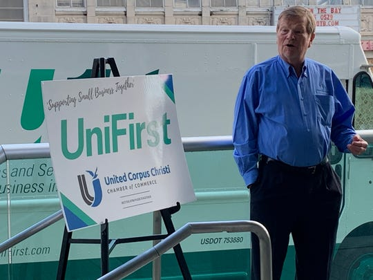 John LaRue, president/CEO of United Corpus Christi Chamber of Commerce, thanks the UniFirst Corp. on Wednesday, June 3, 2020 for delivering 10,000 face masks. The protective wear will be used to help local small businesses in Nueces County affected by the COVID-19 pandemic.