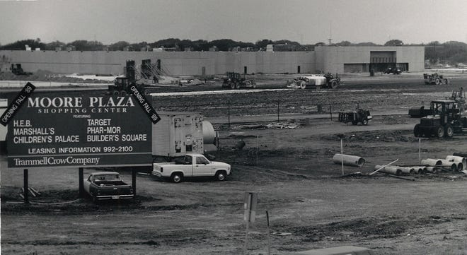 The Target store takes shape during construction of Moore Plaza on April 28, 1989.
