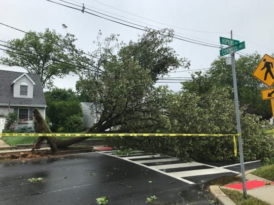 Strong winds from a heavy thunderstorm topped this tree at Hopkins Avenue and Cornell Road on the border of Aududon and Haddon Township on Wednesday afternoon, June 3, 2020.