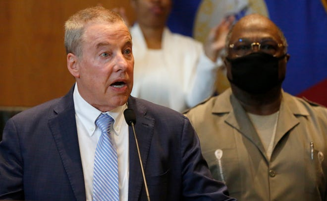 Bill Ford, the executive chairman of Ford Motor Company talks in a press conference with nine CEO's of Detroit's largest corporations at the Detroit City Council Auditorium with Detroit Mayor Mike Duggan. They were all there to talk and take a joint stand against racism and injustice on  June 3, 2020