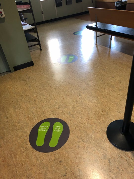 Social distancing markings on the floor of the lobby at Ferndale city hall in an effort to prevent the spread of COVID-19.