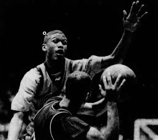 Detroit Southwestern's Jalen Rose puts pressure on Pontiac Northern's Freeman Jones on March 22, 1990 at Calihan Hall.