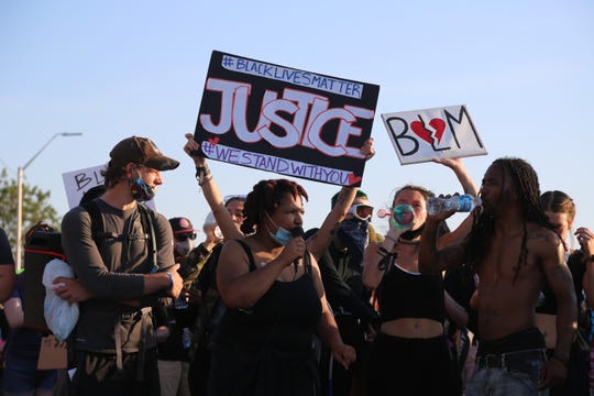 Protesters rallied for another day marching through downtown and up Gratiot Avenue on Tuesday June 2, 2020. The night ended with a number of arrests when police moved in after the group violated the 8 p.m. curfew. Anti-police brutality protests have been held for the last five days in downtown Detroit.
