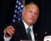 In this Aug. 23, 2019, file photo, Rep. Steve King, R-Iowa, speaks during a news conference in Des Moines, Iowa.