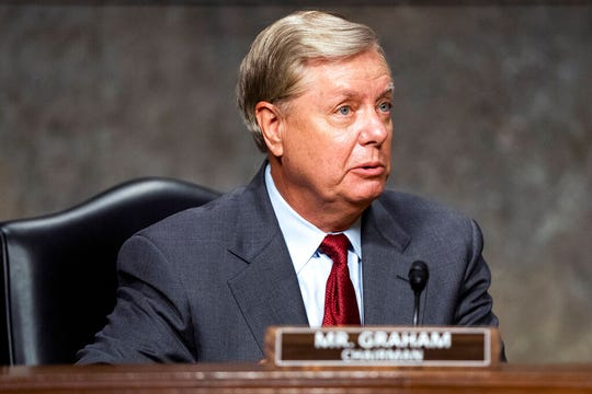 Sen. Lindsey Graham, R-S.C., arrives for a Senate Judiciary Committee hearing on Capitol Hill in Washington, Wednesday, June 3, 2020.