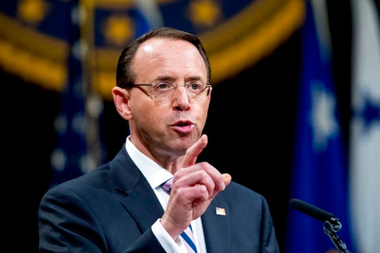 In this May 9, 2019, file photo, then-Deputy Attorney General Rod Rosenstein speaks during a farewell ceremony in the Great Hall at the Department of Justice in Washington. Senate Republicans are planning to press Rosenstein on his oversight of the Russia investigation in the first in a series of oversight hearings that coincides with accelerated election-year efforts to scrutinize the FBI probe.