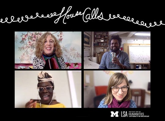 """The U-M Institute for the Humanities' interview with Ann Arbor artist Sajeev Visweswaran, part of the """"House Calls"""" video series archived on the institute's YouTube channel. Here the artist, top right, talks with the Institute curator Amanda Krugliak (top left), and staffers Angela Abiodun (bottom left) and Juliet Hinely."""