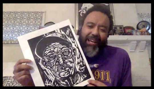 """A screenshot of Detroit artist Rashaun Rucker displaying a recent print in his appearance on the Institute of the Humanities' """"House Calls."""""""