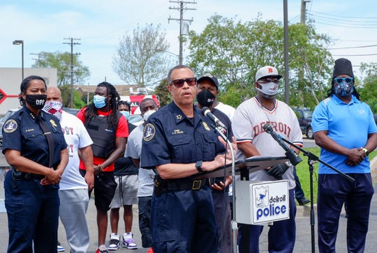 Detroit Police Chief James Craig speaks about the arrests made during Tuesday night protests in Detroit, during a press conference, Wednesday, June 3, 2020.