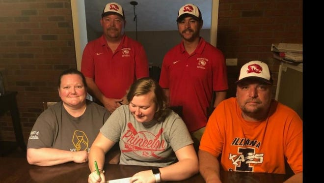 Princeton softball player Jada Camden (front center) has overcome adversity to continue her career at Lincoln Trail College