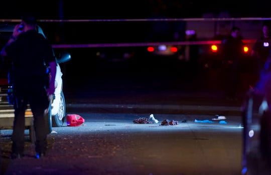 The Evansville Police Department investigates an officer-involved shooting in the 2900 block of Ree Street on Evansville's Southeast Side Tuesday night, June 2, 2020.