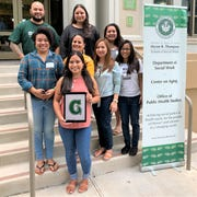 The 2020 graduates of the University of Hawaii at Manoa's Master of Social Work distance education program in partnership with the University of Guam are: back row, from left: Raymond Shinohara, Kelly Unisog, Rosario Perez; and middle row, from left:  Isabella Fagota, Kimberly Graham, Jean Starr,and  Aurea Tagudin, and at front, Richille Uncangco.