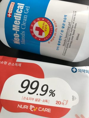 Hand sanitizer gel and wipes sold on Guam during the COVID-19 pandemic. Department of Public Health and Social Services on Wednesday released temporary guidance allowing sanitizers to be imported to address a shortage of personal protective equipment because of the pandemic.