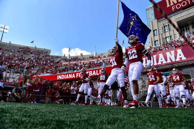 Indiana Hoosiers prepare to storm the field before the game against the Eastern Illinois Panthers at Memorial Stadium .