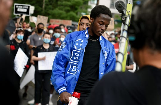 Devonte Parker, a Cornell University student and one of the organizers of March 4 Floyd, speaks during the peaceful protest against police brutality on Wednesday, June 3, 2020.