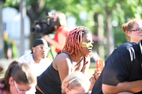 The city of Jackson joined together to take a knee in front of City hall, Tuesday evening, June 2, 2020, to peacefully protest against police violence towards the African American community.