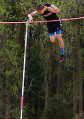 Pinckney's Jake Loria was second in the pole vault at the 2019 regional track and field meet, qualifying for the state meet.