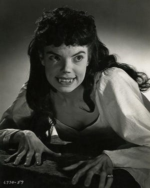 """Andree Melly was one of the """"Brides of Dracula,"""" in a black-and-white publicity portrait for a movie that was in vivid Technicolor."""