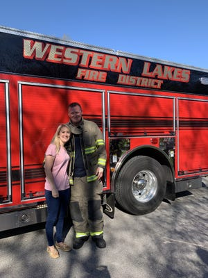 Justin Sayre, a Lisbon firefighter, was engaged to Kelly Cook last month with the help of Western Lakes Fire District.