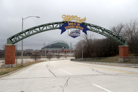 Miller Park lies empty on March 26 when the Milwaukee Brewers were supposed to host the Chicago Cubs on opening day.