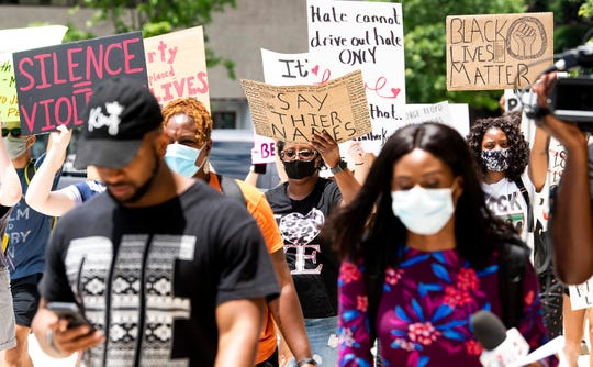 A Black Lives Matter protest march is held at the Alabama State Capitol Building in Montgomery, Ala., on Wednesday June 3, 2020.